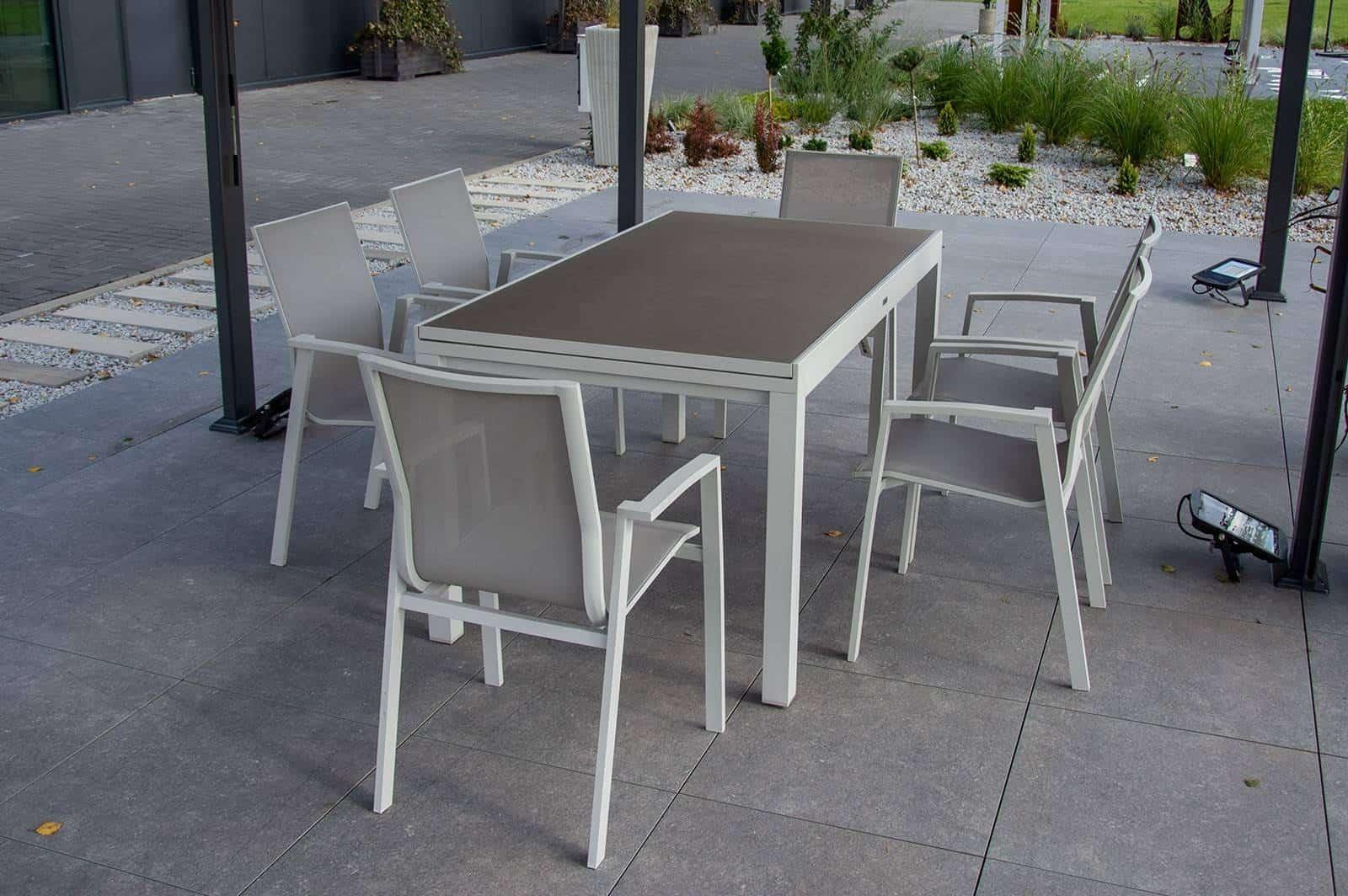 Zestaw ogrodowy stół TOLEDO + LEON light grey