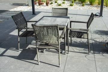 OUTLET: Zestaw ogrodowy PIAZZA modern grey z krzesłami LISBONA