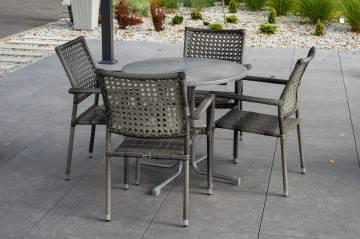 Zestaw ogrodowy PIAZZA ⌀70 modern grey z krzesłami LISBONA