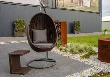 Fotel wiszący KOKON ze stolikiem ROMEO modern brown