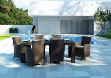 Stół RAPALLO 220cm modern brown z fotelami AMANDA