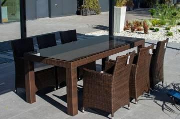 Stół RAPALLO 220cm z fotelami AMANDA modern brown