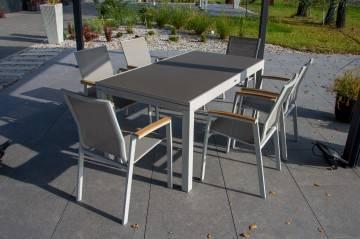 Meble ogrodowe TOLEDO light grey z krzesłami LEON teak