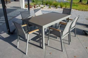 Meble ogrodowe TOLEDO grey z krzesłami LEON grey teak