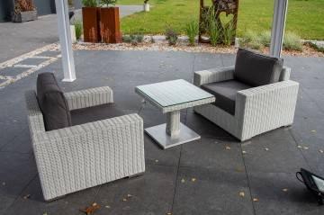 OUTLET: Komplet ogrodowy MILANO ze stolikiem QUADRO royal white 180