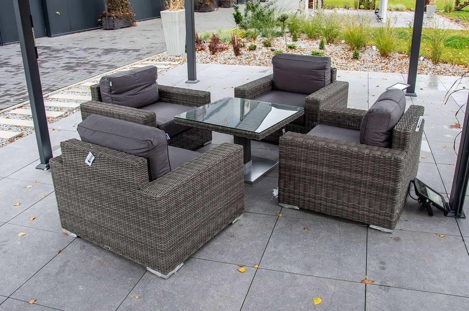 Zestaw ogrodowy z czterema fotelami i stolikiem QUADRO 202