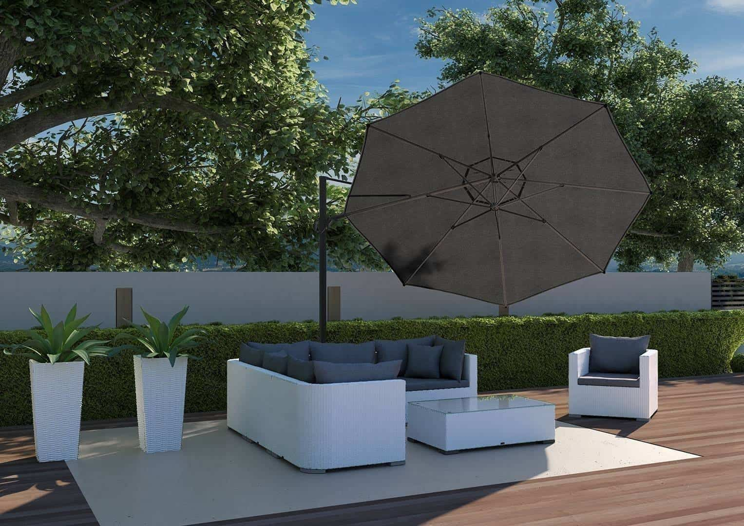 Parasol ogrodowy Challenger T2 Ø 3,5 m taupe 255
