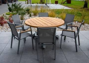 Zestaw ogrodowy Stół BORDEAUX z krzesłami LEON grey 284