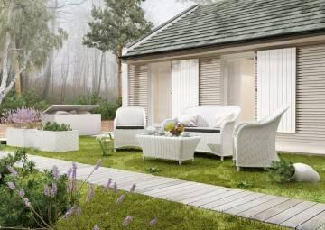 Sofy ogrodowe: Meble ogrodowe LEONARDO royal white