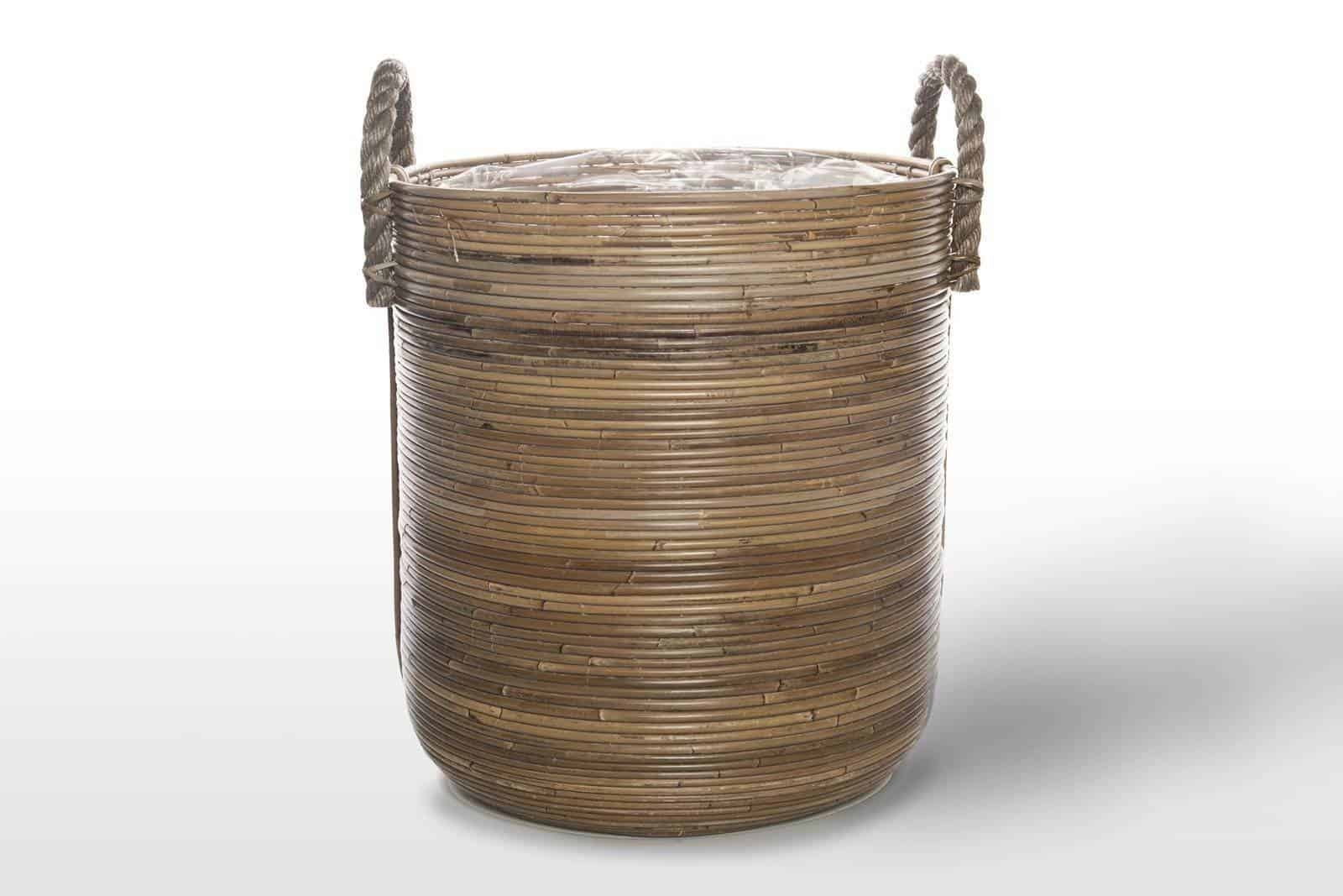 Kosz rattanowy AMIENS ⌀45cm x wys. 50cm grey