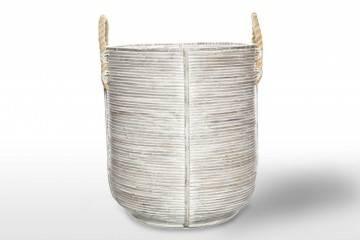 eleganckie meble ogrodowe: Kosz rattanowy AMIENS ⌀45cm x wys. 50cm biały przecierany