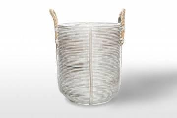 eleganckie meble ogrodowe: Kosz rattanowy AMIENS ⌀40cm x wys. 45cm biały przecierany
