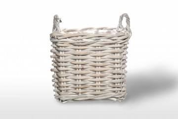 eleganckie meble ogrodowe: Kosz rattanowy NARBONNE sz.50cm x gł.50cm x wys.45cm biały przecierany