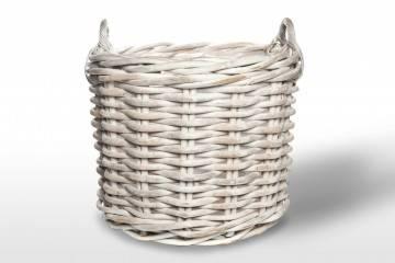 eleganckie meble ogrodowe: Kosz rattanowy RENNES ⌀65cm x wys. 55cm biały przecierany