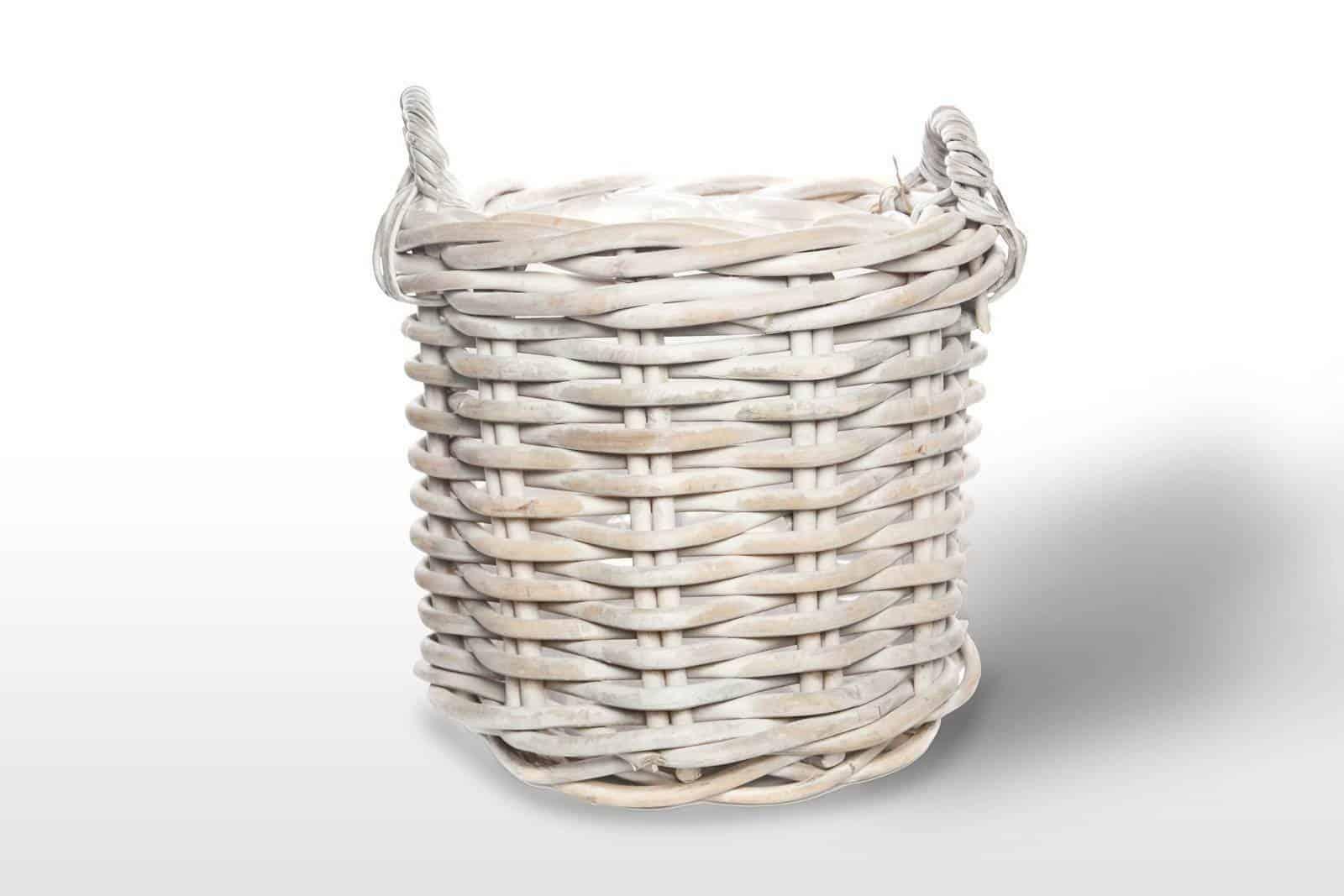 Kosz rattanowy RENNES ⌀50cm x wys. 45cm white