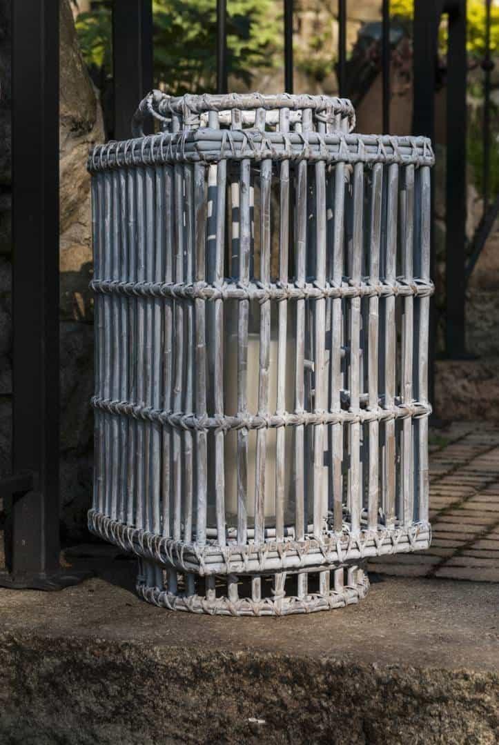 Lampion kwadratowy ROUSILLON sz.27cm x gł.27cm x wys.50cm biały przecierany