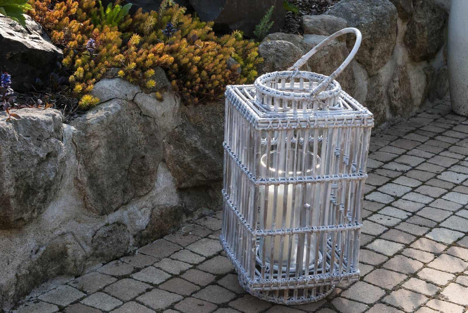 Lampion kwadratowy ROUSILLON sz.35cm x gł.35cm x wys.75cm biały przecierany