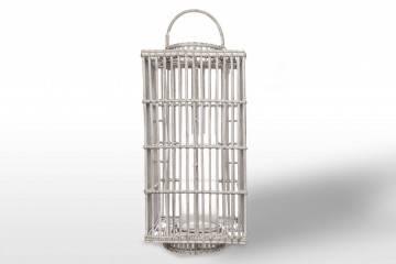 Lampion kwadratowy ROUSILLON sz.35cm x gł.35cm x wys.75cm white