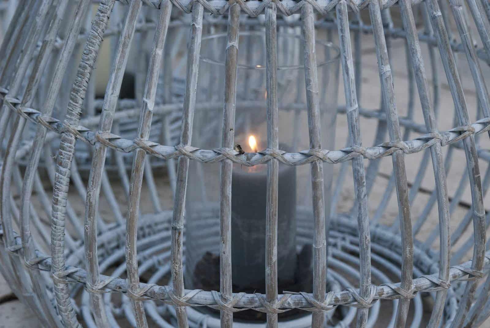 Lampion okrągły CAEN ⌀54cm x wys. 48cm biały przecierany