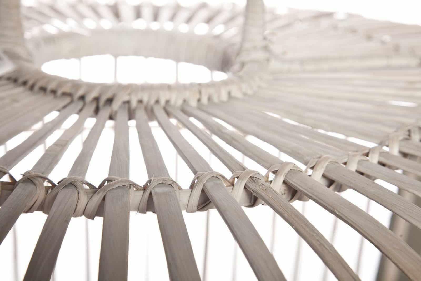 Lampa bambusowa TOULOUSE ⌀54cm x wys. 54cm biała przecierana