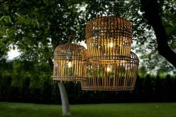 Lampa bambusowa TOULOUSE ⌀54cm x wys. 54cm grey