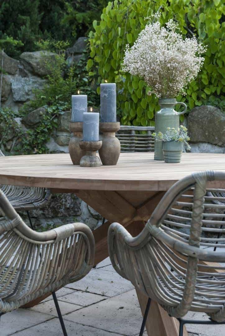 Stół ogrodowy teak BORDEAUX ⌀150cm