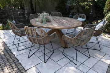 Stół ogrodowy teak BORDEAUX ⌀135