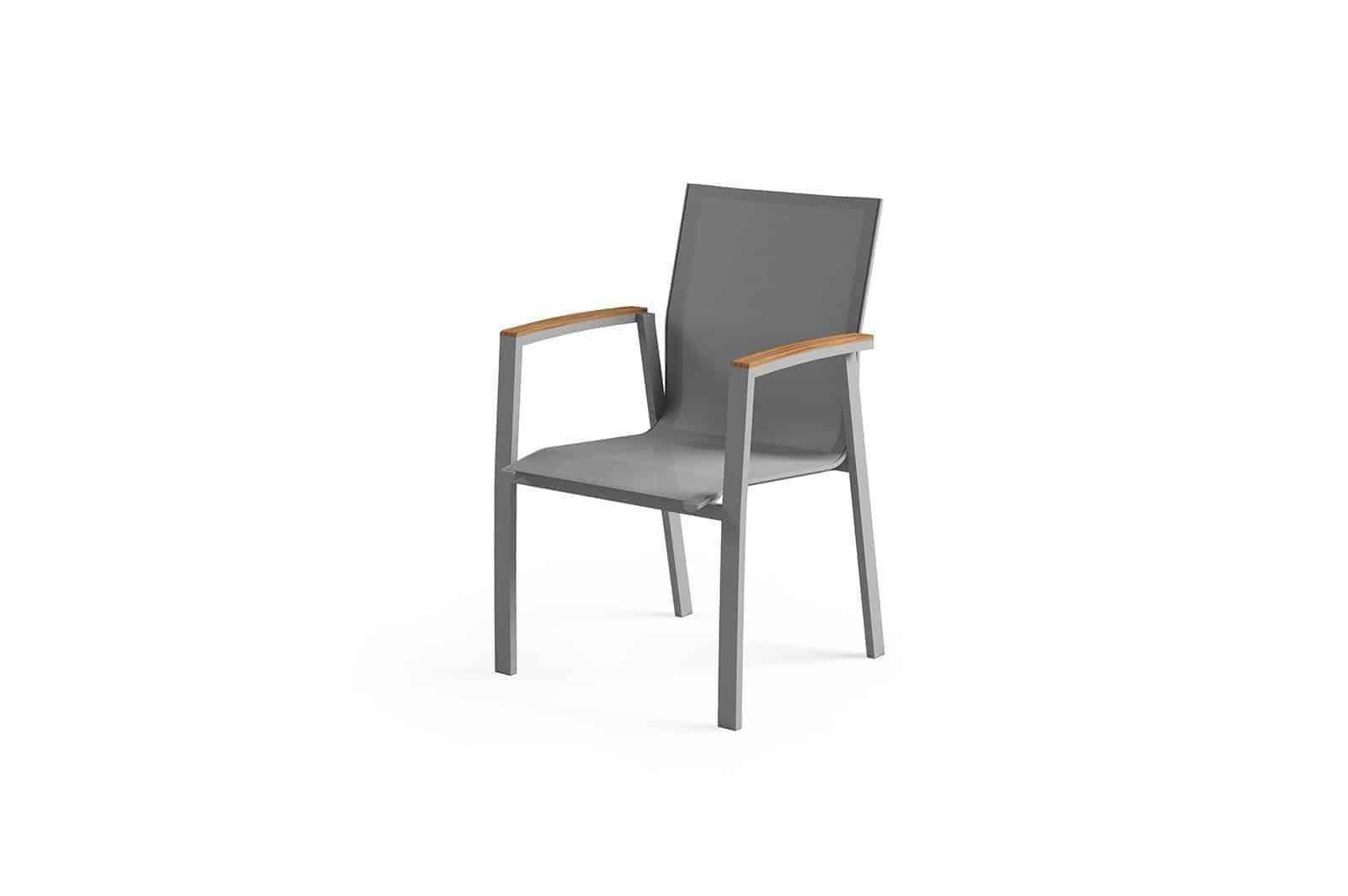 Krzesło ogrodowe LEON teak grey