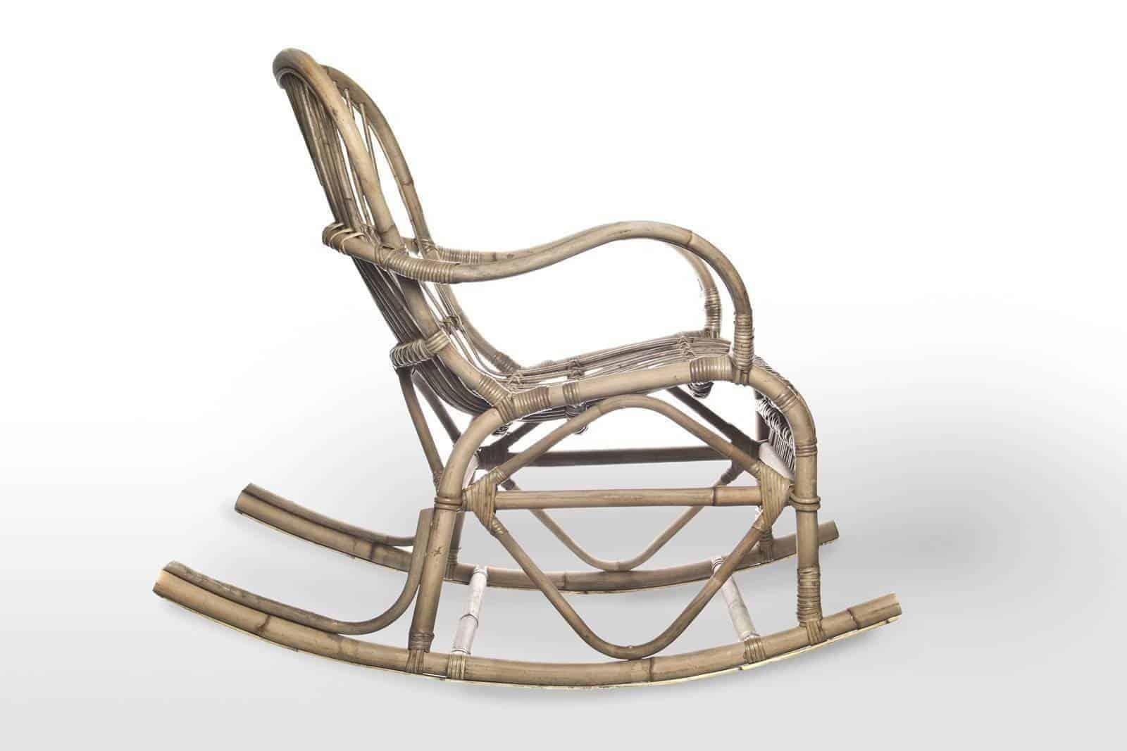 Fotel rattanowy bujany MARSEILLE grey