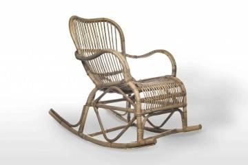 bez VAT!: Fotel rattanowy bujany MARSEILLE grey