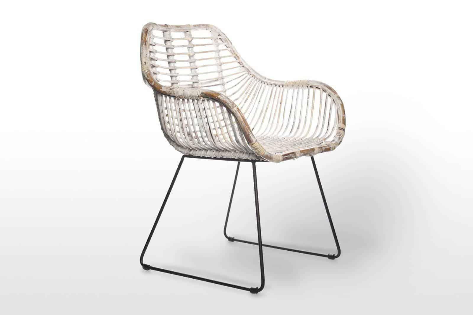 Krzesło rattanowe retro LAVAL white