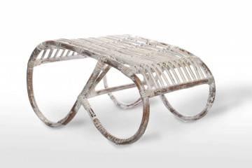 Krzesła i fotele ogrodowe: Podnóżek rattanowy CANNES biały przecierany