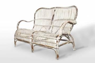 Meble ogrodowe: Sofa rattanowa CANNES biała przecierana