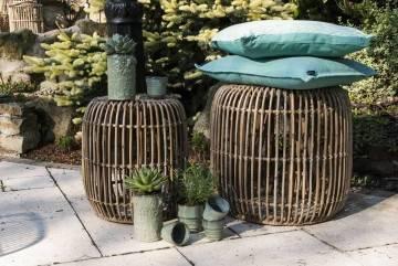 Meble ogrodowe: Stolik / puf rattanowy CANNES 52 cm naturalny