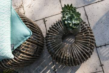 SALE up to -50% OFF: Stolik / puf rattanowy CANNES grey 35 cm