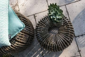 Meble ogrodowe: Stolik / puf rattanowy CANNES grey 35 cm