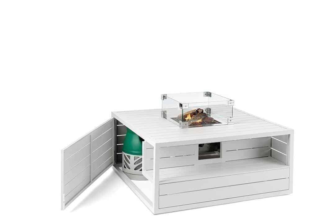 Palenisko gazowe kwadratowe aluminiowe białe