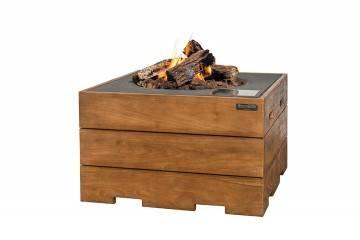 Palenisko gazowe z drewna teakowego 76x76x46cm antracyt