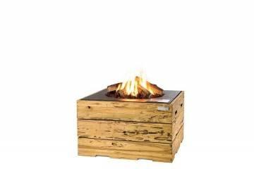 Palenisko gazowe z jasnego drewna tekowego 76x76x46cm antracyt