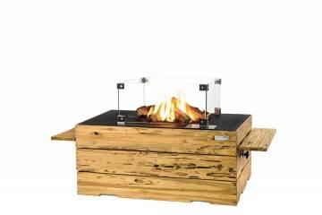 Palenisko gazowe z jasnego drewna tekowego 107x80x46cm czarne