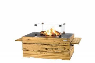 Palenisko gazowe z jasnego drewna tekowego 107x80x46cm antracyt