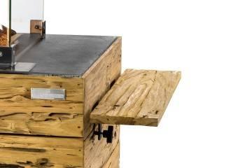 Zestaw 2 półek bocznych dla paleniska z jasnego drewna tekowego