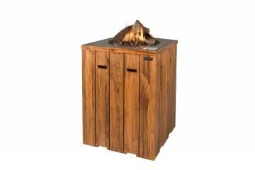 Palenisko gazowe z drewna teakowego 76x76x100cm antracyt