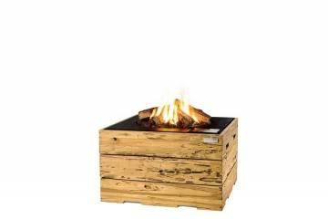 Palenisko gazowe z jasnego drewna tekowego 76x76x46cm czarne