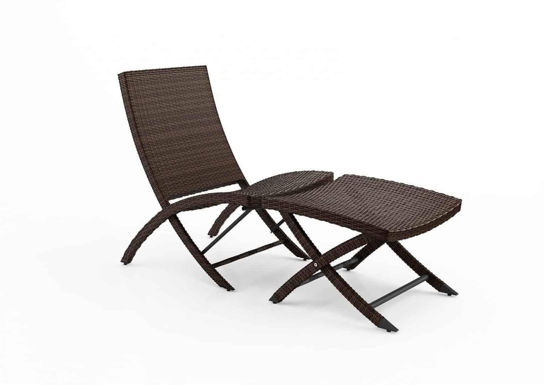 Krzesło ogrodowe PORTO z podnóżkiem modern brown 398