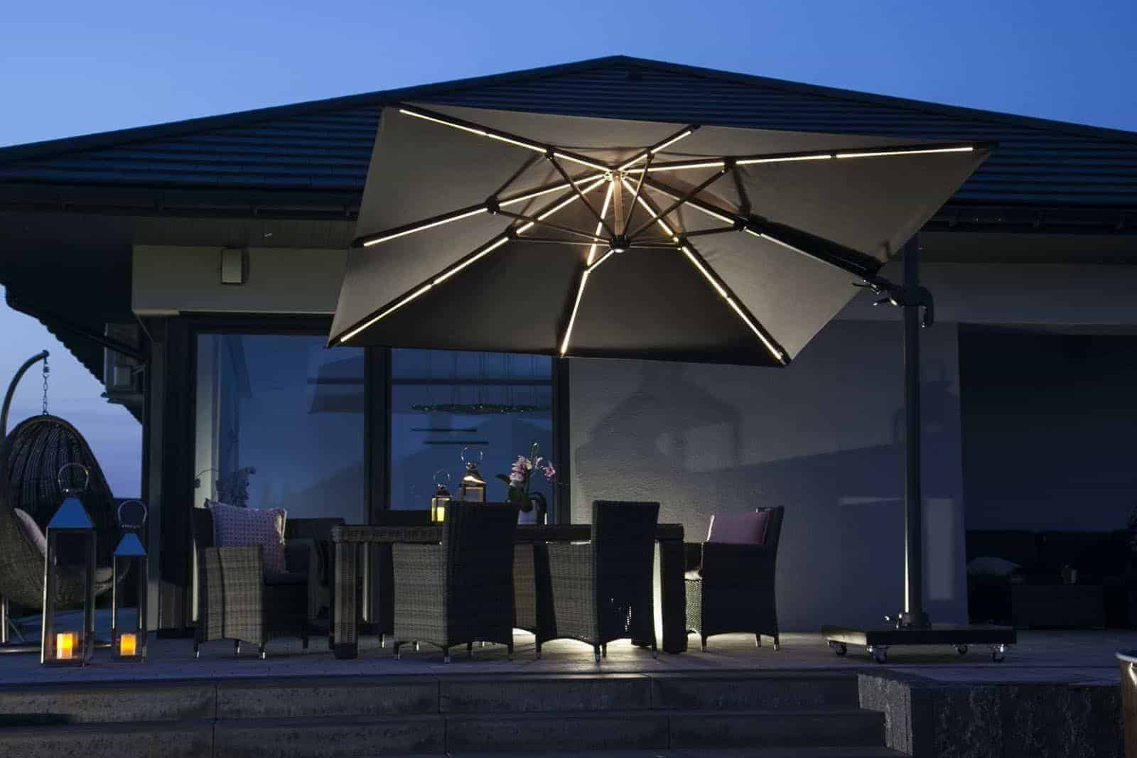 Parasol ogrodowy Challenger T2 GLOW 3 m x 3 m anthracite 7125 560