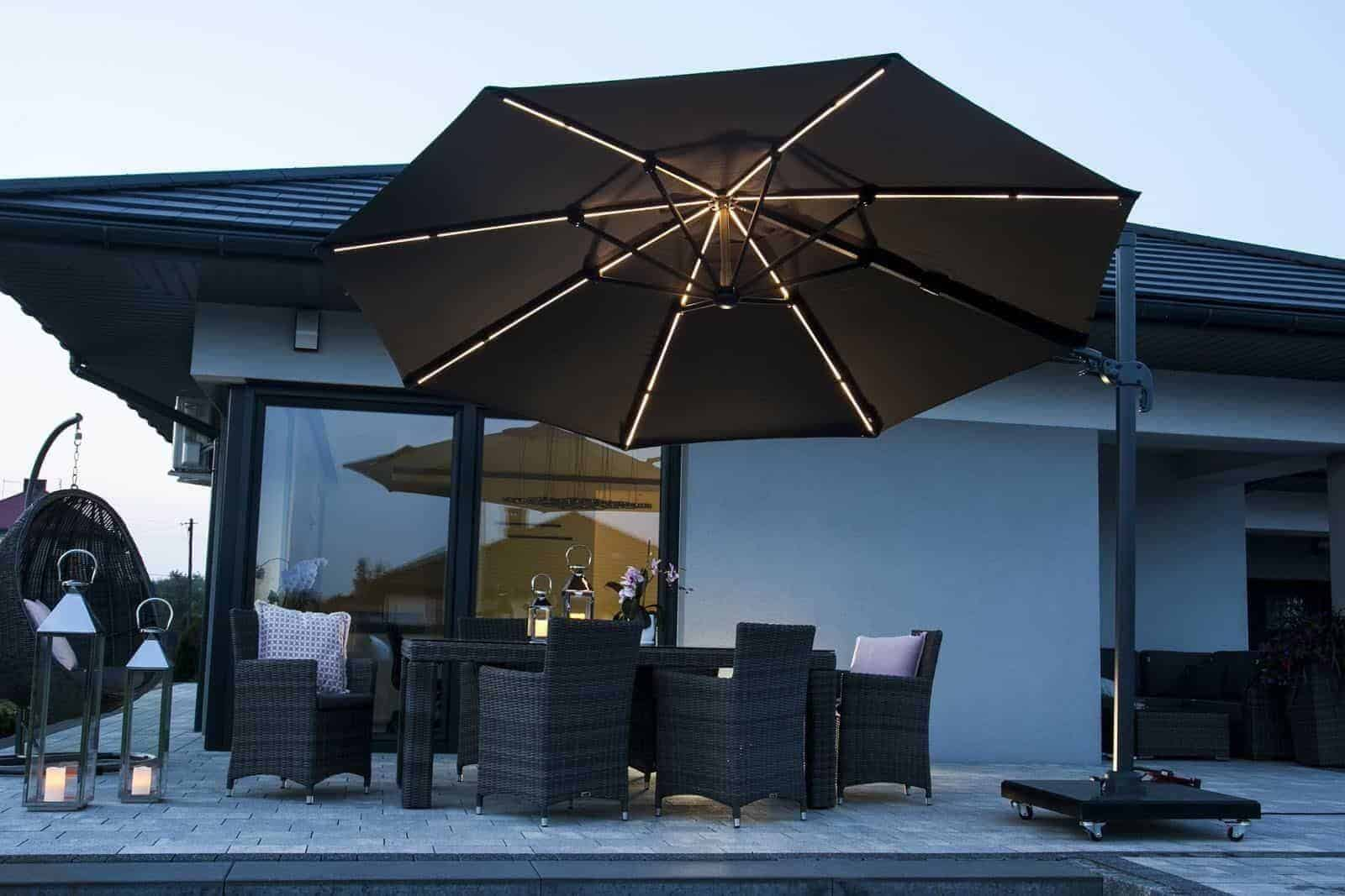 Parasol ogrodowy CHALLENGER T2 GLOW Ø 3,5 m anthracite 7126 566