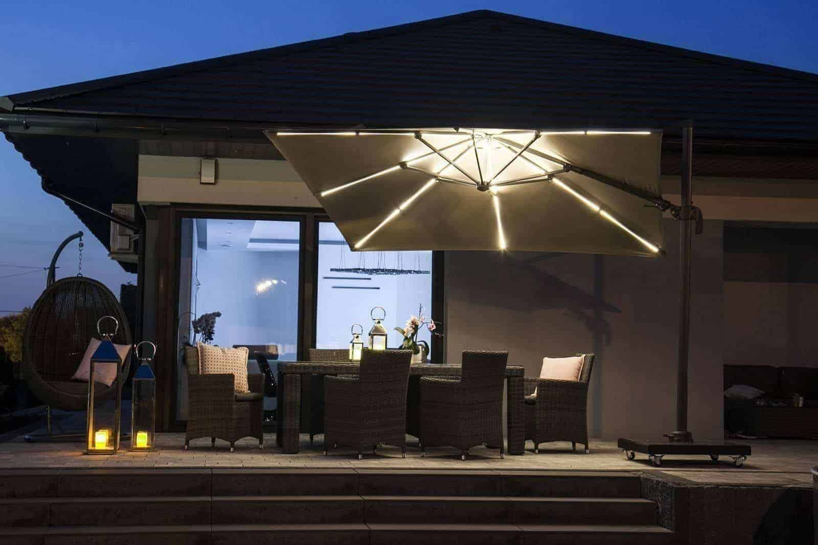 Parasol ogrodowy CHALLENGER T2 GLOW 3 m x 3 m taupe 7125E 571