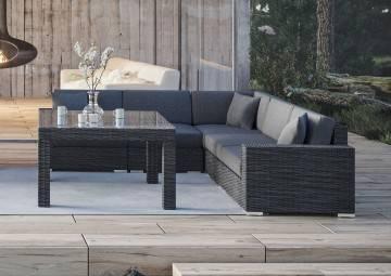 nowoczesne meble tarasowe: Meble ogrodowe MILANO III royal szary