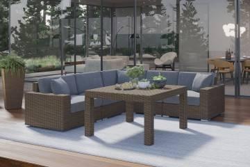 nowoczesne meble tarasowe: Meble ogrodowe MILANO III royal piaskowy